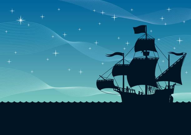 선박 항해의 밤 - columbus day stock illustrations