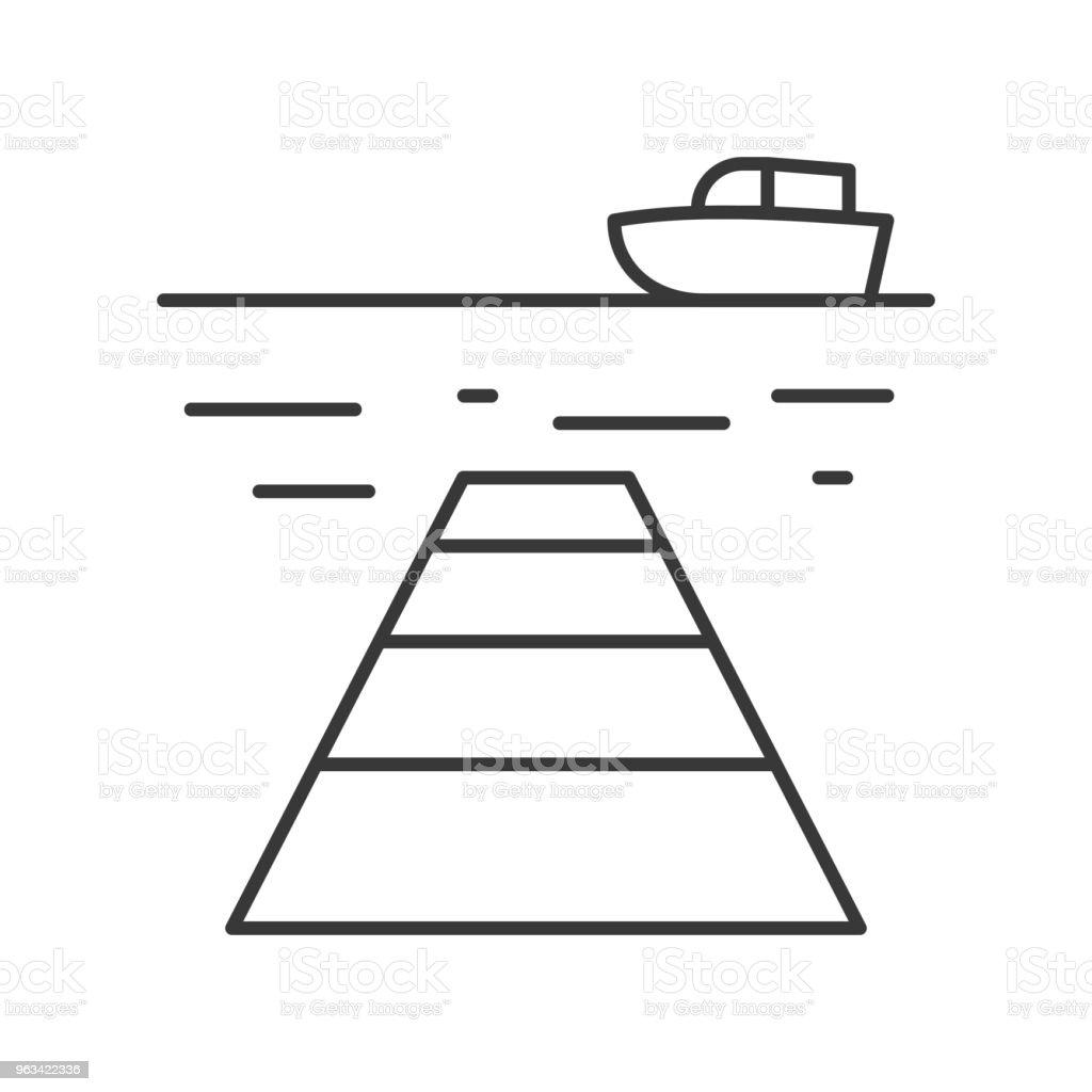 Ship, sea and port outline icon on white background - Grafika wektorowa royalty-free (Bez ludzi)
