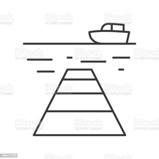 Ikona Konturu Statku Morza I Portu Na Białym Tle - Stockowe grafiki wektorowe i więcej obrazów Bez ludzi