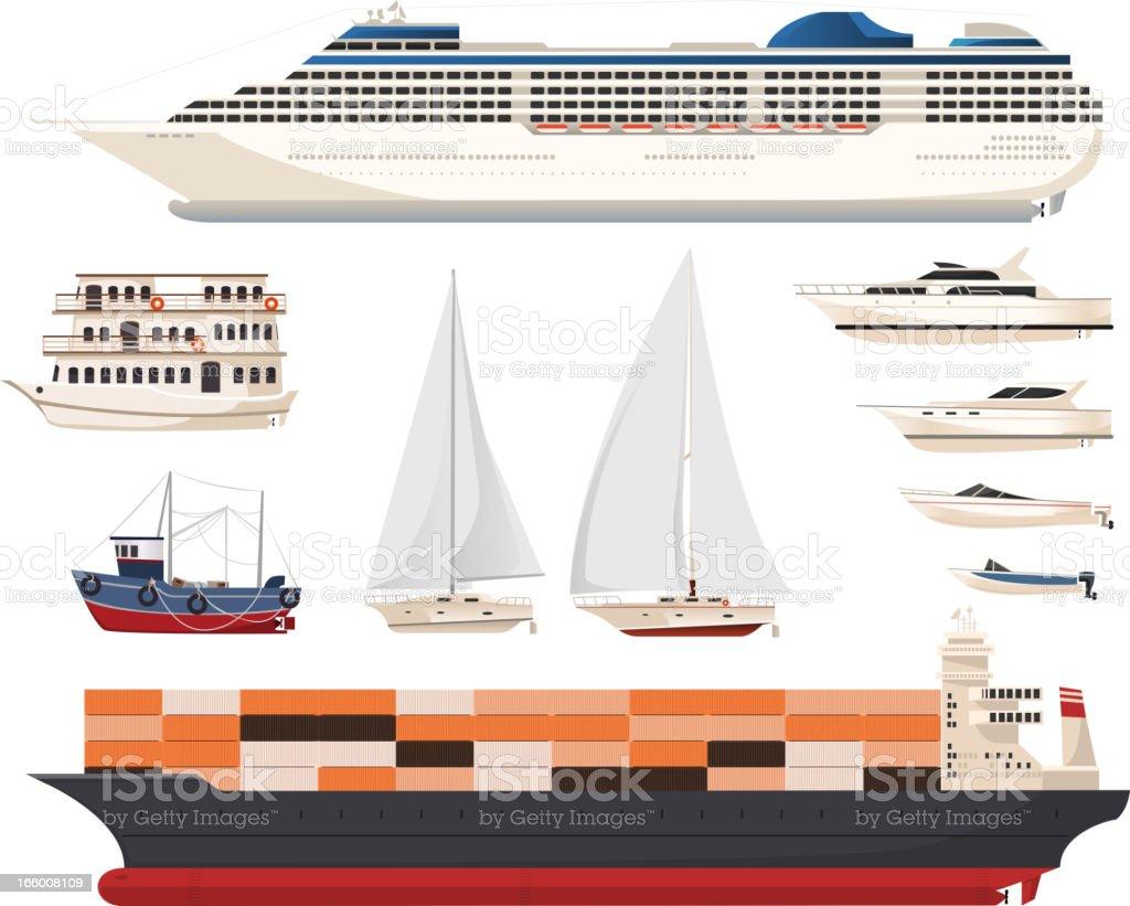 Ship Set vector art illustration