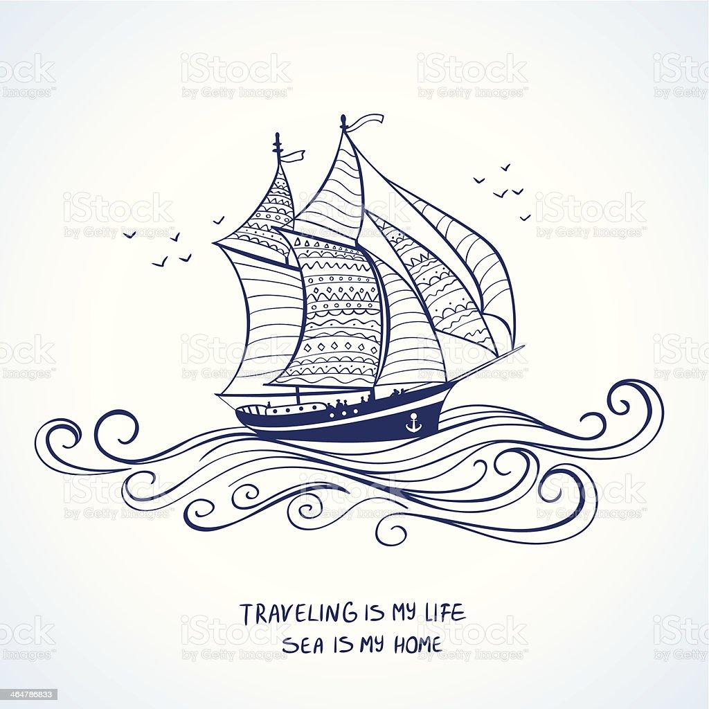 ship silhouette vector art illustration