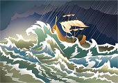 Storm at the sea, sinking ship, heavy clouds; vector illustration