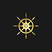 ship, steering, icon gold icon. Vector illustration of golden style on dark background