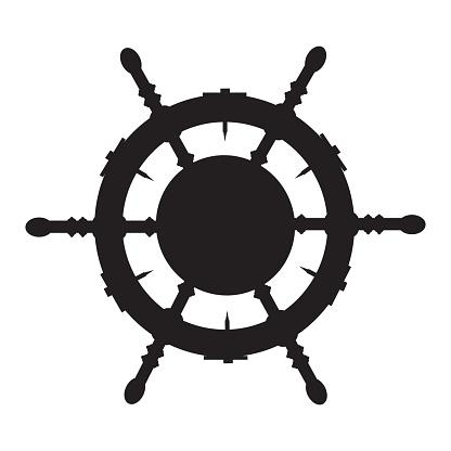 Ship steering wheel black silhouette, vector illustration. Nautical boat helm.
