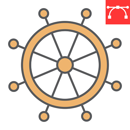 Ship steering wheel color line icon, boat wheel and ocean, helm vector icon, vector graphics, editable stroke filled outline sign, eps 10.