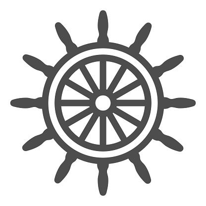 Ship steering wheel line icon, Sea cruise concept, marine wooden wheel sign on white background, rudder icon in outline style for mobile concept and web design. Vector graphics.