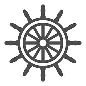 istock Ship steering wheel line icon, Sea cruise concept, marine wooden wheel sign on white background, rudder icon in outline style for mobile concept and web design. Vector graphics. 1281184461
