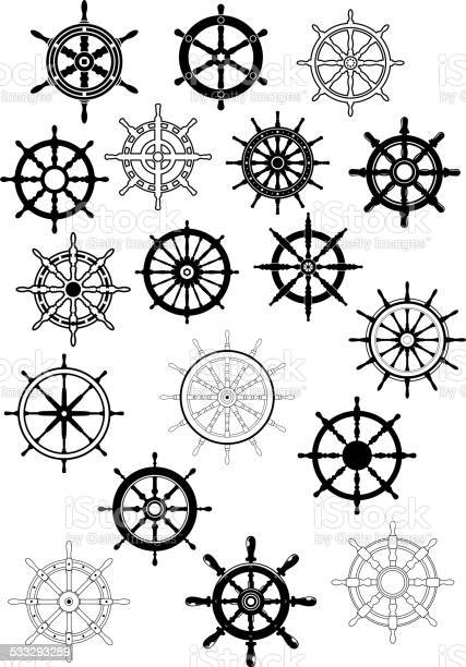 Ship steering wheels in retro style for nautical and heraldic design