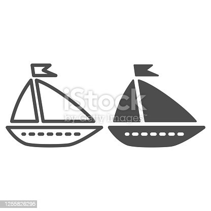 istock Ship toy line and solid icon, summer concept, boat sign on white background, Toy sailing ship icon in outline style for mobile concept and web design. Vector graphics. 1255826295