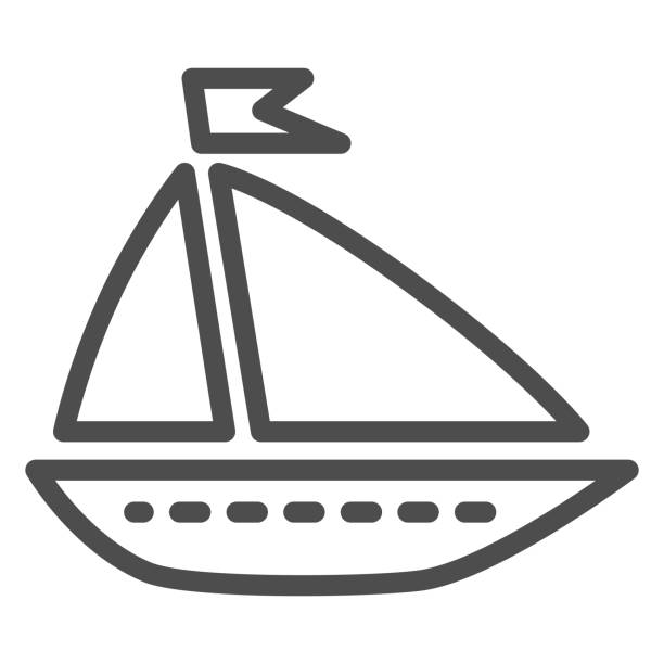 Ship toy line icon, summer concept, boat sign on white background, Toy sailing ship icon in outline style for mobile concept and web design. Vector graphics. Ship toy line icon, summer concept, boat sign on white background, Toy sailing ship icon in outline style for mobile concept and web design. Vector graphics adventure clipart stock illustrations