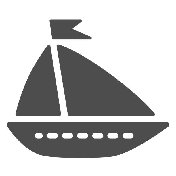 Ship toy solid icon, summer concept, boat sign on white background, Toy sailing ship icon in glyph style for mobile concept and web design. Vector graphics. Ship toy solid icon, summer concept, boat sign on white background, Toy sailing ship icon in glyph style for mobile concept and web design. Vector graphics adventure clipart stock illustrations