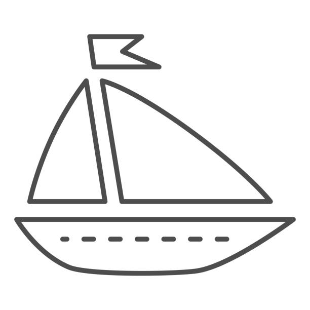 Ship toy thin line icon, summer concept, boat sign on white background, Toy sailing ship icon in outline style for mobile concept and web design. Vector graphics. Ship toy thin line icon, summer concept, boat sign on white background, Toy sailing ship icon in outline style for mobile concept and web design. Vector graphics adventure clipart stock illustrations