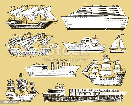 Ship vector boat vessel sailboat cruise liner or passenger steamship and powerful speedboat or motorboat submarine and yacht set illustration isolated on background.