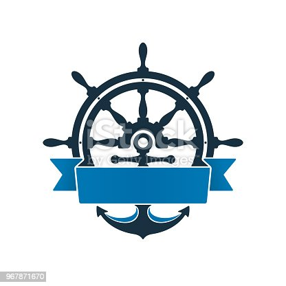 istock Ship wheel and anchor with label 967871670