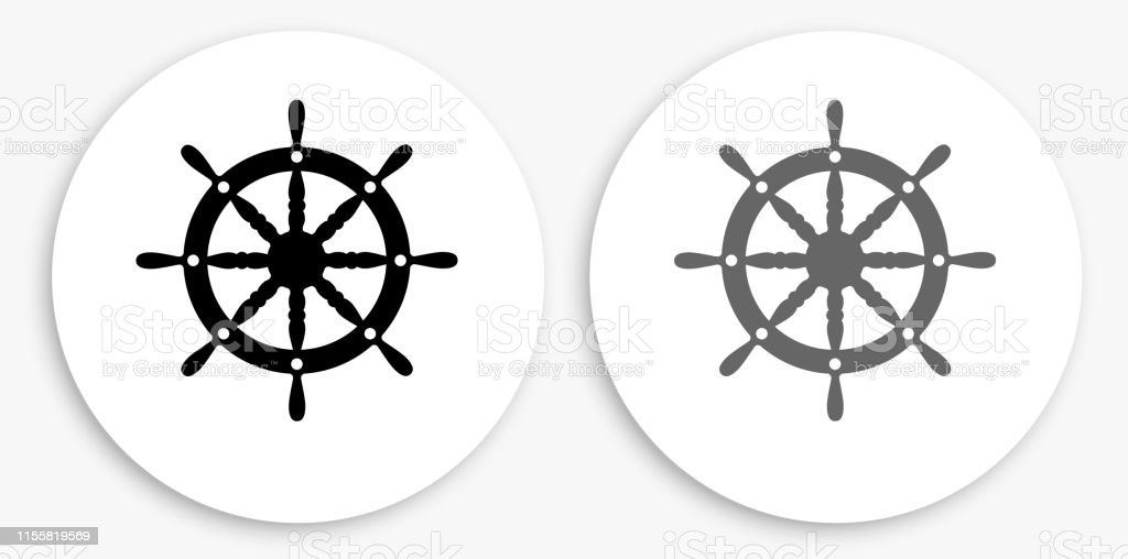 Ship Wheel Black and White Round Icon. This 100% royalty free vector...
