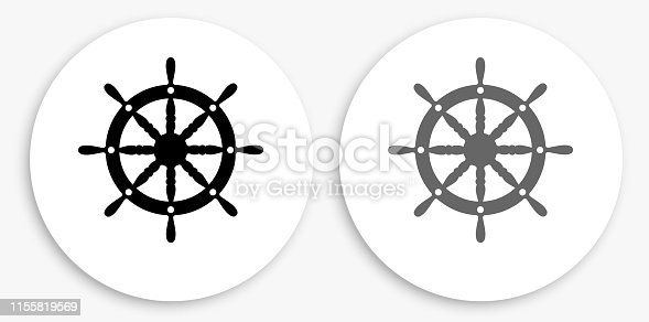 istock Ship Wheel Black and White Round Icon 1155819569
