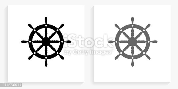 istock Ship Wheel Black and White Square Icon 1142739714