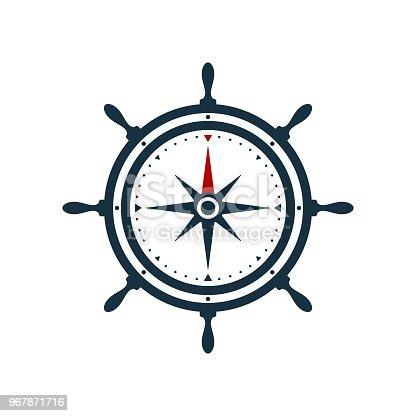istock Ship wheel compass rose design 967871716
