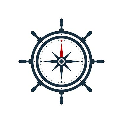 Ship wheel compass rose design