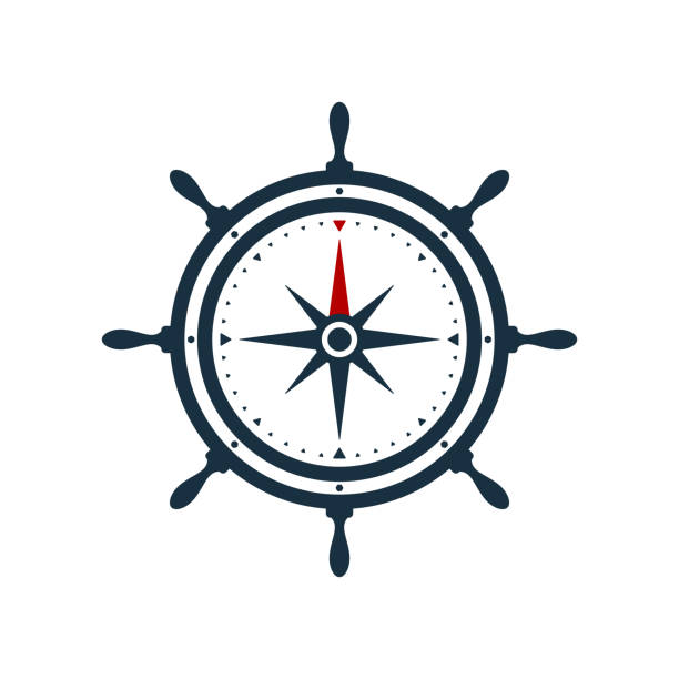 Ship wheel compass rose design Ship wheel and compass rose on white background. Nautical icon design. steering wheel stock illustrations