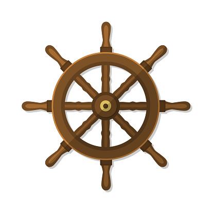 Ship Wheel Flat Vector Illustration