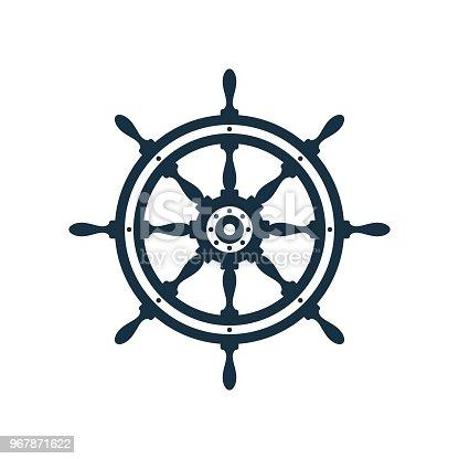 istock Ship wheel icon design 967871622