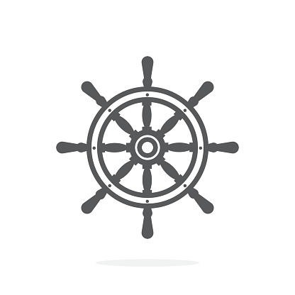 Ship wheel icon on white background