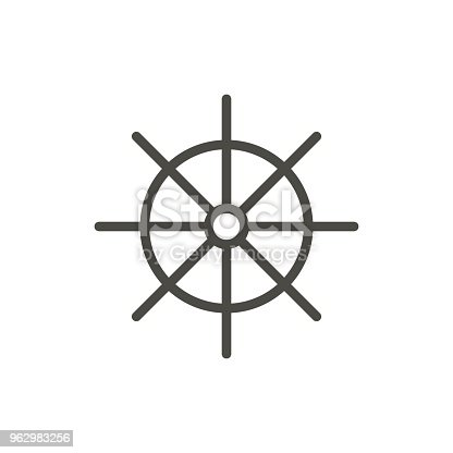 istock Ship wheel icon vector. Line symbol isolated. Trendy flat outline ui sign design. Thin linear boat wheel graphic pictogram for web site, mobile app. Logo illustration. Eps10 962983256