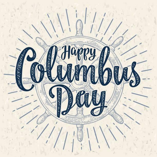 휠 빈티지 벡터 흑백 조각 배. 해피 콜럼버스의 날 글자입니다. - columbus day stock illustrations