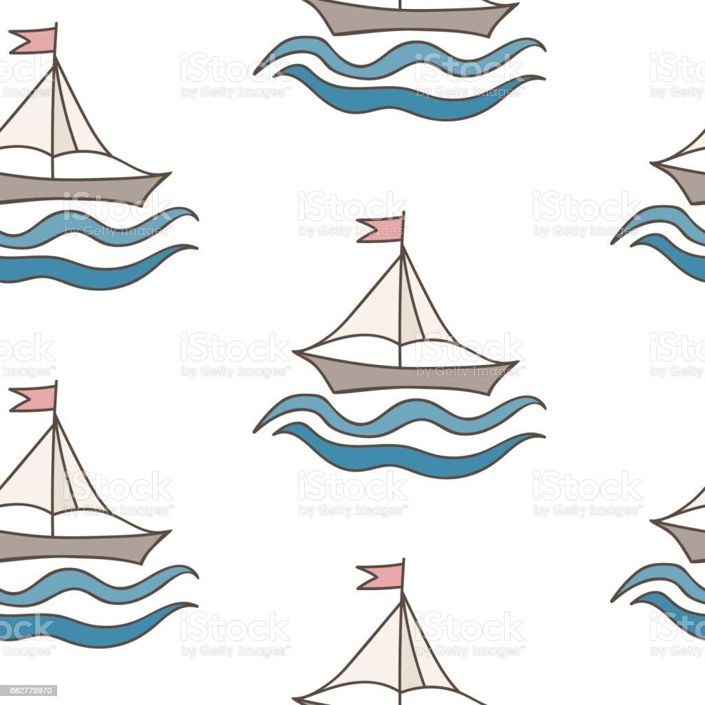 Kitap Ve Diğer çocuk Tasarım Boyama Için Bayrak Ile Gemi Stok Vektör