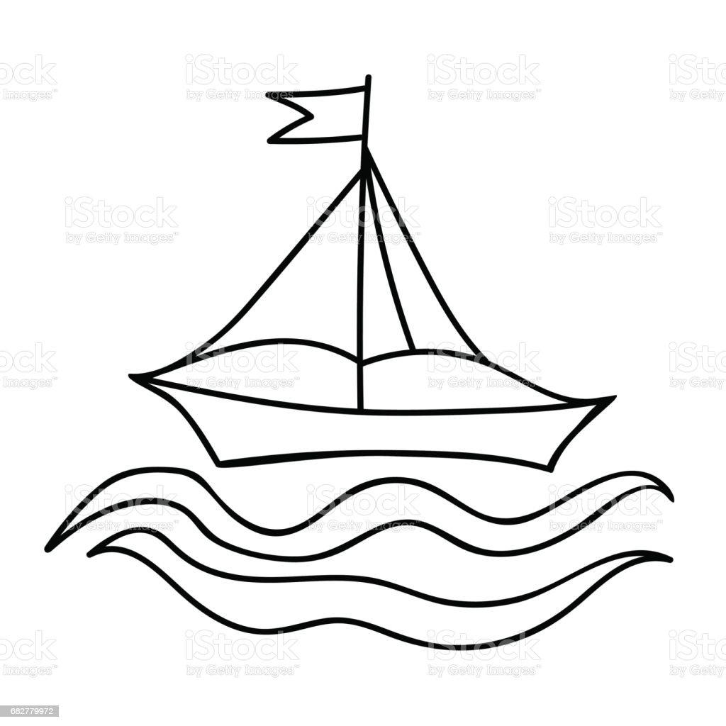 Kitap Ve Diğer çocuk Tasarım Boyama Için Bayrak Ile Gemi