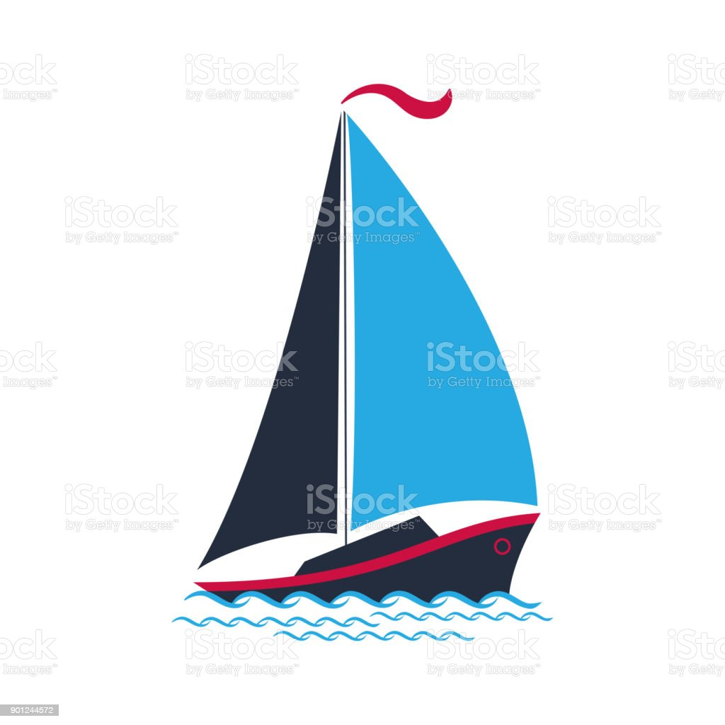 Ship with sails on the waves. for a travel company, for water sports, for the yacht club. vector art illustration