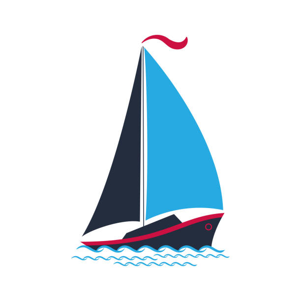 Ship with sails on the waves. for a travel company, for water sports, for the yacht club. Ship with sails on the waves. for a travel company, for water sports, for the yacht club sailboat stock illustrations