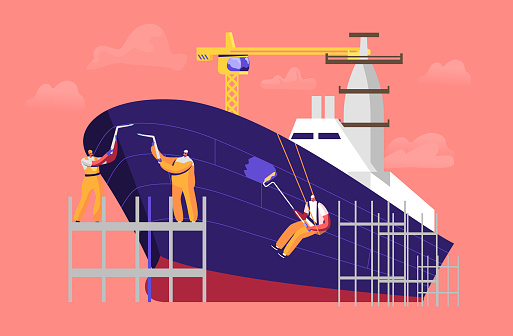 Shipbuilding Concept. Engineer Male Characters Welding and Painting Board Assembling Nautical Vessel on Scaffold in Dock