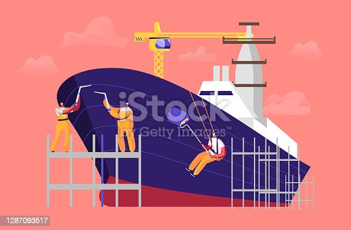istock Shipbuilding Concept. Engineer Male Characters Welding and Painting Board Assembling Nautical Vessel on Scaffold in Dock 1287093517