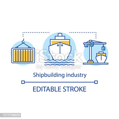 Shipbuilding industry concept icon. Shipping sector. Maritime transport. Ships load, unload. Building and repairing boats idea thin line illustration. Vector isolated outline drawing. Editable stroke