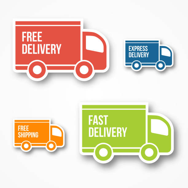 shipment and free delivery - delivery van stock illustrations, clip art, cartoons, & icons
