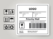 istock Shipment label template. Cargo sticker. Delivery bar code mockup. Fragile, handle, recycle icon. Information about company recipient. Priority mail with barcode mock up. Vector illustration 1226428487