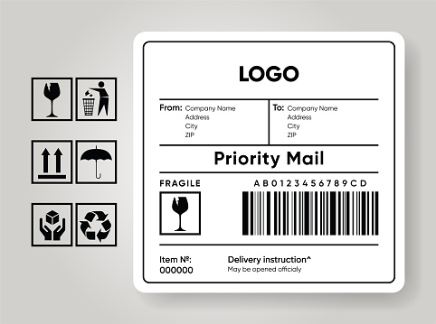 Shipment label template. Cargo sticker. Delivery bar code mockup. Fragile, handle, recycle icon. Information about company recipient. Priority mail with barcode mock up.