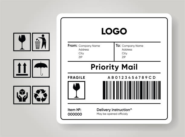 Shipment label template. Cargo sticker. Delivery bar code mockup. Fragile, handle, recycle icon. Information about company recipient. Priority mail with barcode mock up. Vector illustration Shipment label template. Cargo sticker. Delivery bar code mockup. Fragile, handle, recycle icon. Information about company recipient. Priority mail with barcode mock up. fragility stock illustrations