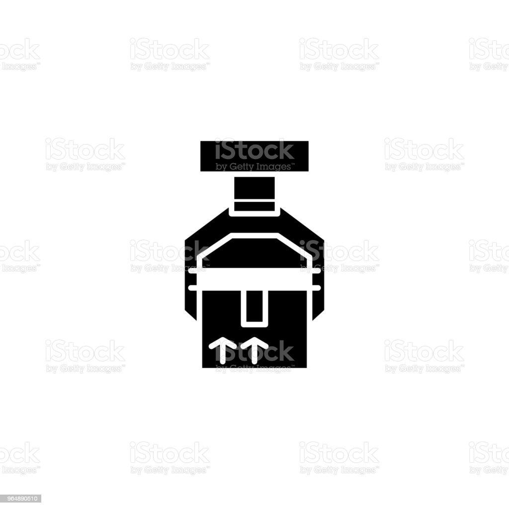 貨件黑色圖示概念。裝運貨物平面向量符號、符號、插圖。 - 免版稅一組物體圖庫向量圖形