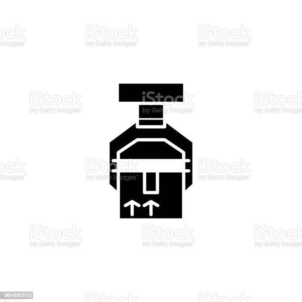 貨件黑色圖示概念裝運貨物平面向量符號符號插圖向量圖形及更多一組物體圖片