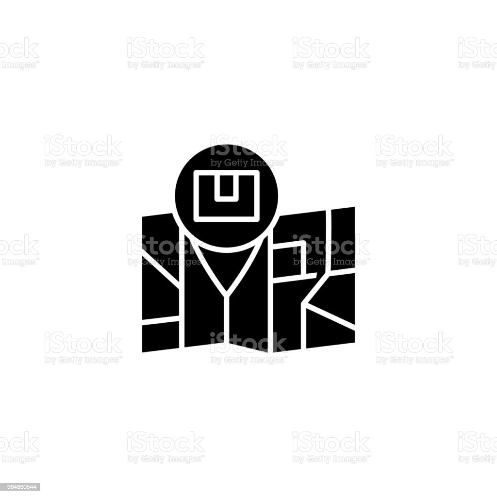 Shipping address black icon concept. Shipping address flat  vector symbol, sign, illustration. royalty-free shipping address black icon concept shipping address flat vector symbol sign illustration stock vector art & more images of no people