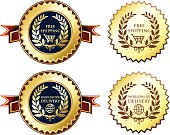 Free shipping and worldwide delivery medals with laurels.