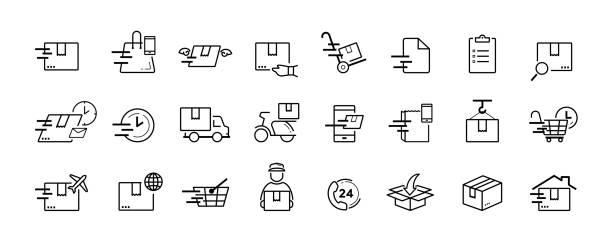 stockillustraties, clipart, cartoons en iconen met verzending en levering dienst vector icon set - leveren