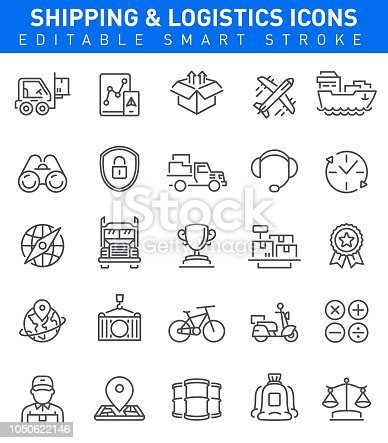 Shipping and Logistic Icons with cargo, transportation, trophy and shipping symbols