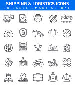 Shipping and Logistic Icons. Editable stroke