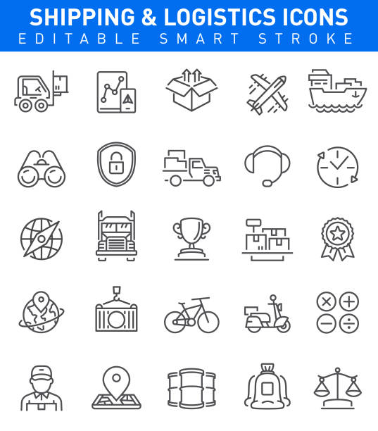 Shipping and Logistic Icons. Editable stroke Shipping and Logistic Icons with cargo, transportation, trophy and shipping symbols oil drum stock illustrations