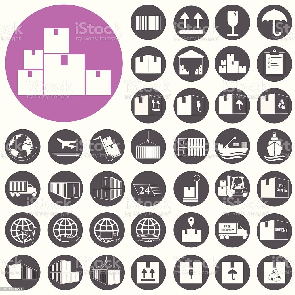 Shipping and Logistics Icons set. Vector Illustration eps10 vector art illustration