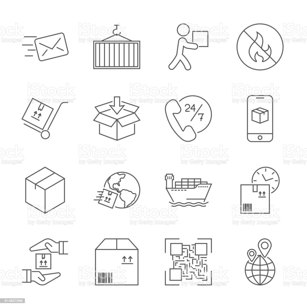 Shipping and Logistics Icons with White Background. Editable Str vector art illustration